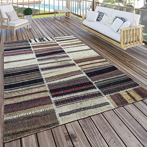 Paco Home In- & Outdoor Teppich Modern Nomaden Muster Terrassen Teppich Naturtöne, Grösse:160x220 cm