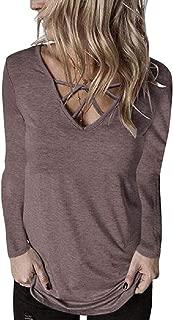 Hokny TD Women's Casual T Shirts Long Sleeve Criss Cross Front V Neck Tops Shirts