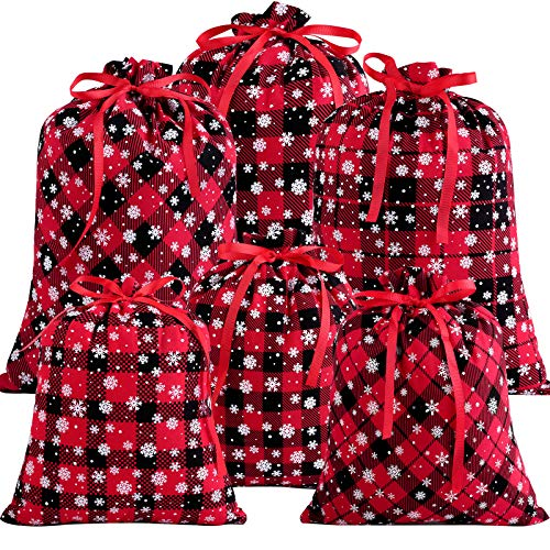 Aneco 6 Packs Christmas Red and Black Plaid Bags with Snowflake Pattern Holiday Cotton Present Bags Gift Wrapping Drawstring Bag Pouches Treat Bag for Christmas Party Favor Supplies