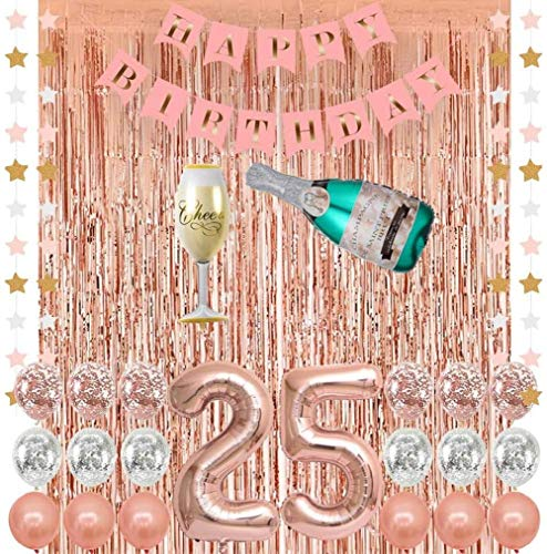 25st Rose Gold Birthday Decorations,Champagne Balloon,Pink Happy Birthday Banner,Rose Gold Foil Fringe Curtains,Confetti Balloons for 25th Birthday Decorations for Women Girls