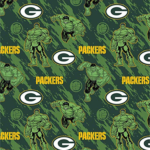 """NFL Marvel Mash Up Fabric Hulk Green Bay Packers Fabric NFL Football in Green 44"""" Wide 100% Cotton Fabric by The Yard"""