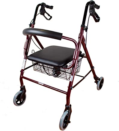 Andador para ancianos | Aluminio | Plegable | Frenos de maneta | Asiento y respaldo | 4 ruedas | Burdeos | Escorial | Mobiclinic