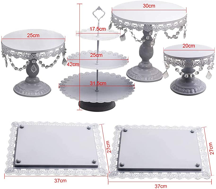 6PCS Wedding Cake Stand Crystal Decor Metal Cupcake Holder W Crystal Dishes Set