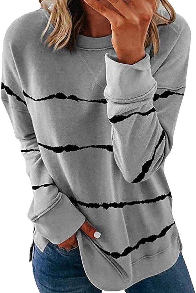 ZSBAYU Women's Casual Striped Tops Sweatshirts Loose Crewneck Long Sleeve T-Shirts Blouse