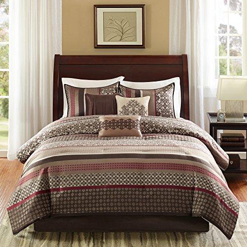 Madison Park Princeton Cal King Size Bed Comforter Set Bed in A Bag - Crimson Red, Jacquard Patterned Striped – 7 Pieces Bedding Sets – Ultra Soft Microfiber Bedroom Comforters
