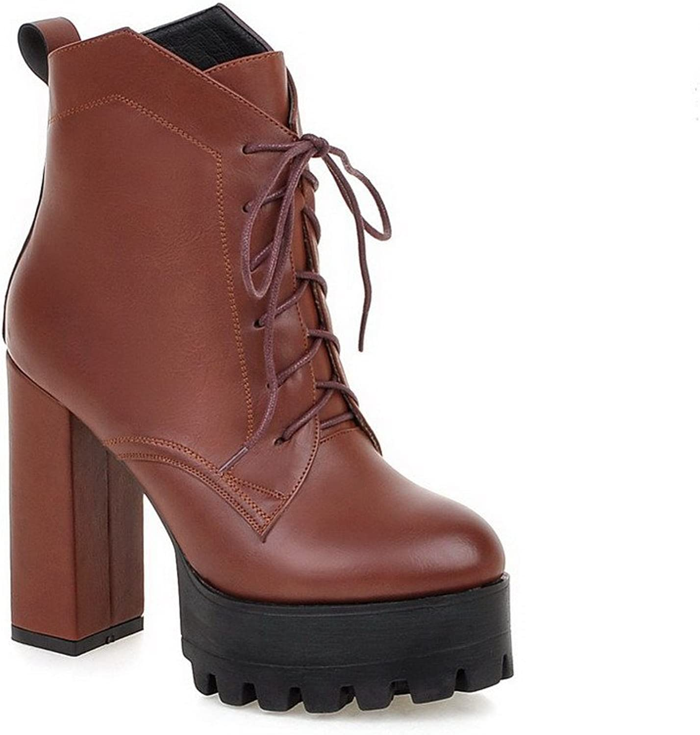 WeenFashion Women's Lace up Round Closed Toe High Heels Pu Low Top Boots