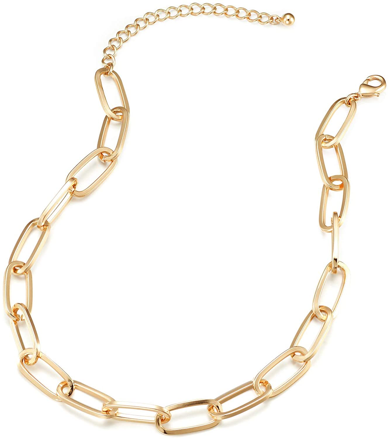 LANE WOODS Gold Chain Necklace and Bracelet for Women Ladies Dainty and Chunky Chain Link Paperclip Jewelry Set