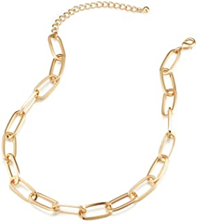 LANE WOODS Gold Chain Necklace and Bracelet for Women Ladies Dainty and Chunky C