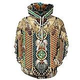 Yuui Sudadera con capucha indian Chief Native Tribal Totem étnico, hippie para hombre y mujer