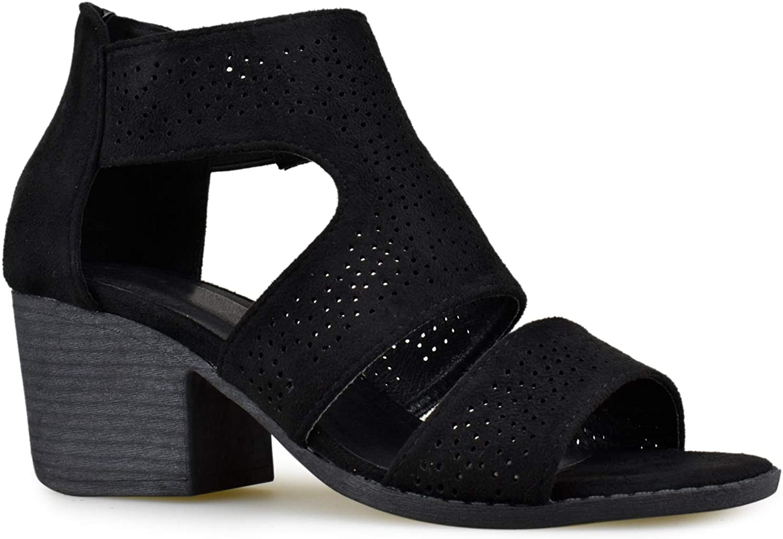 Premier Standard Women's Open Toe Low Heel Back Zipper Dress Sandal Stacked Heeled-Sandals