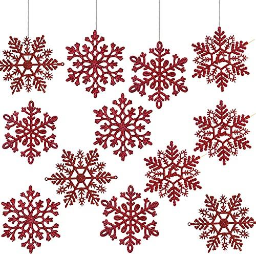 HONGECB Adornos de Navidad, Decoraciones Colgantes, Copo de Nieve Decoraciones, Decoración del Árbol de Navidad con Purpurina, Plateado, Azul, Rojo, para Boda Fiestas Adornos Festivo, 24 Piezas