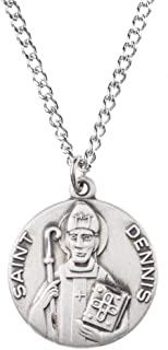 Sterling Silver Catholic Patron Saint Dime Size Medal Pendant, 3/4 Inch