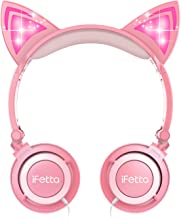 Kids Headphones, Ifecco Cat Ear Wired Headphones Light Glowing Foldable Over Ear Headset Pink for Girls with 3.5mm Audio Cable
