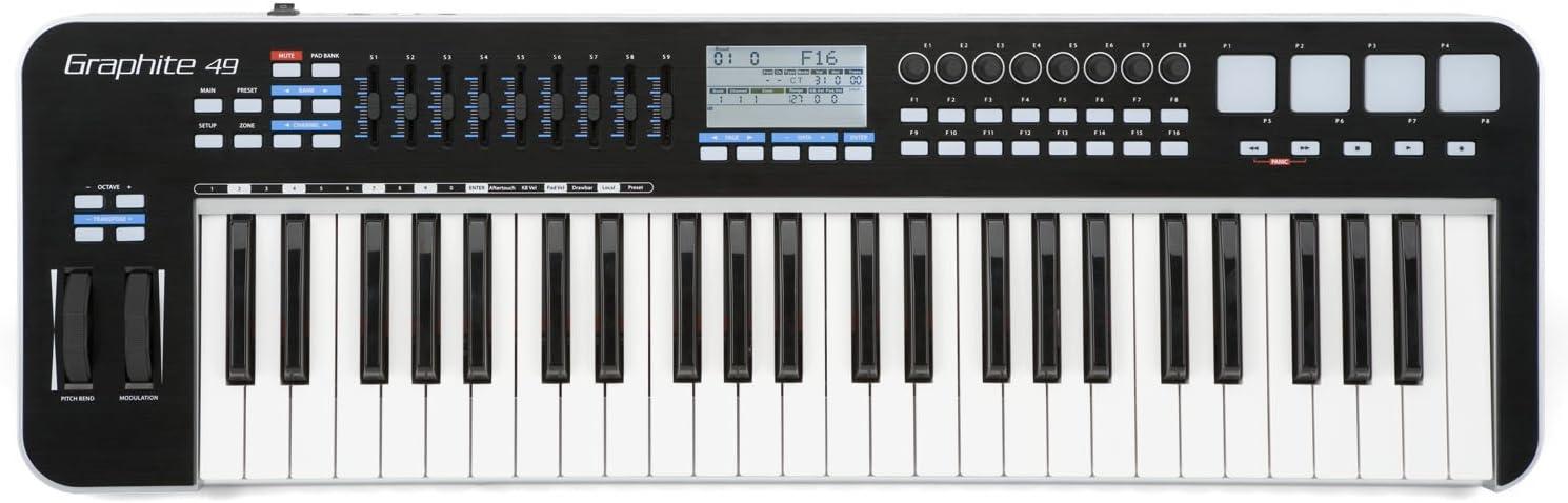 Samson Graphite 49 SAKGR49 - Teclado MIDI (49 teclas, conector tipo USB), Color Negro
