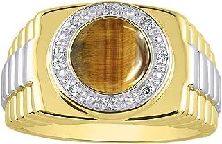 RYLOS - Anillo para hombre con gema de cabujón ovalada y diamantes brillantes auténticos en plata chapada en oro amarillo ...