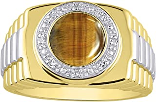 RYLOS Designer Style Ring with Oval Shape Cabochon Gemstone & Genuine Sparkling Diamonds in 14K Yellow Gold Plated Silver .925