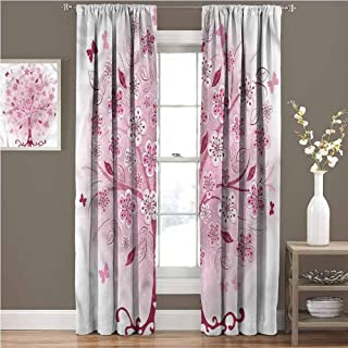 GUUVOR Nature Shading Insulated Curtain Bonsai Tree Flowers Leaves Soundproof Shade W96 x L72 Inch