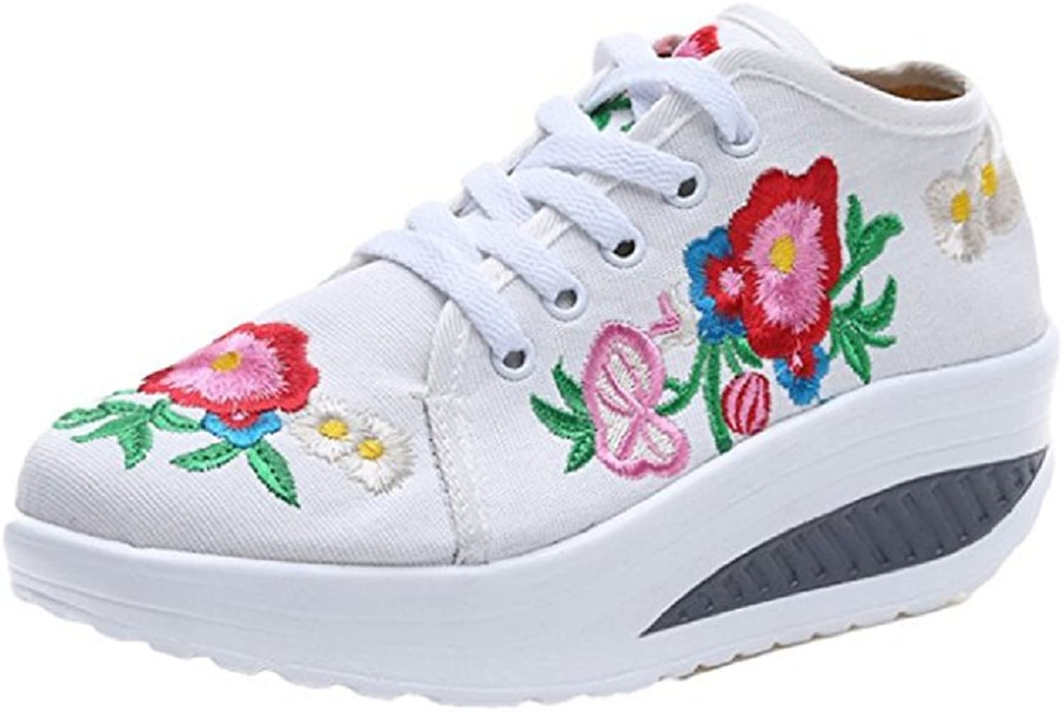Tianrui Crown Women and Ladies Embroidery Lace Up Platform Casual Sneaker shoes