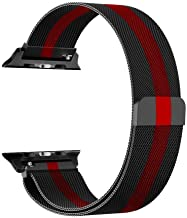 Frazil Stainless Steel Milanese Strap Band with Magnetic Closure for iWatch 42mm/44mm Apple Watch Series 1/2/3/4/5 (Black with Red)