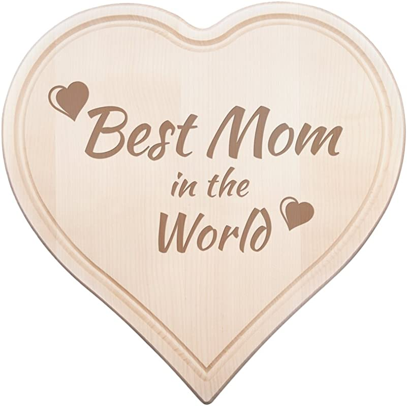 Heart Shaped Wooden Chopping Board Cutting Board With Engraving Best Mom In The World Ideal Mother S Day Gift Hearts Motif 0 6 In Thick Maple Wood With Juice Groove 11 By 11 In