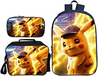 Gift Kid Boy 3D Printed Detective Pikachu Backpack Student Schoolbag Travel Bag