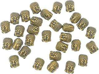 30pcs Alloy Buddha Tathagata Head Bead Spacer Charm Pendant for DIY Necklace Bracelt Jewelry Making Findings(Antique Bronze Tone)