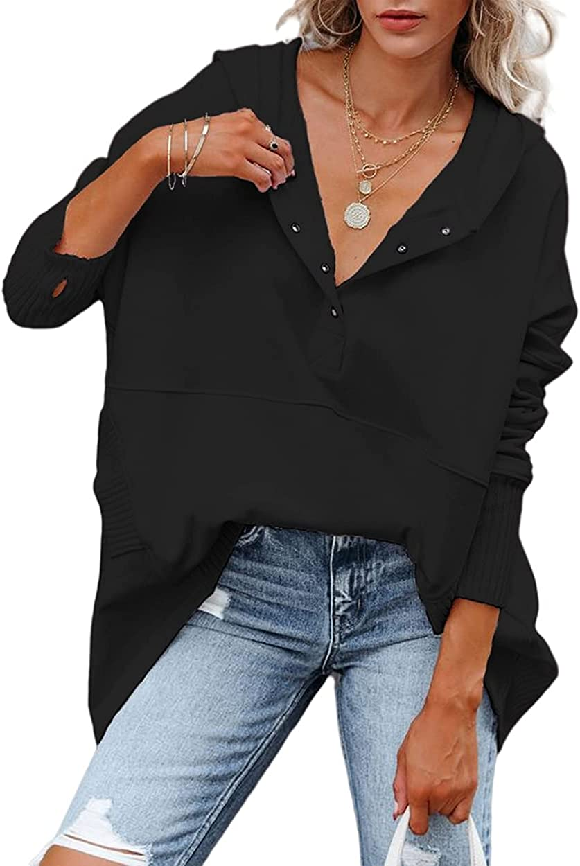 Yousify Women Casual Henley Hoodie Pullover V Neck Oversize Sweatshirt with Pocket