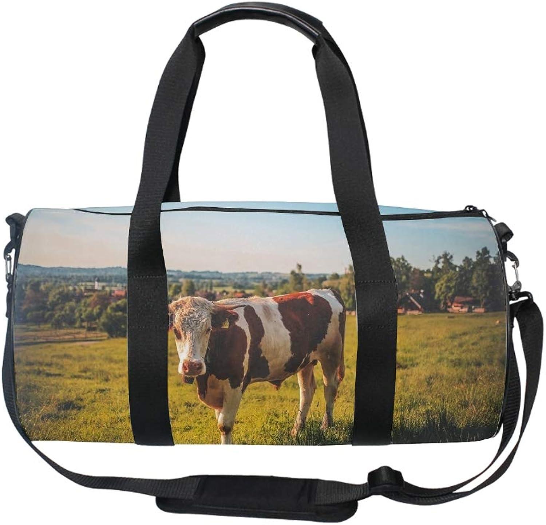Cow Gym Bag Sports Duffel Bag Barrel Holdall Bag for Travel Gym Sports Bag