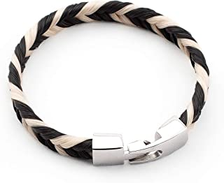 crintiff - Horsehair Bracelet Flat Braided Handmade - for Women and Men - Collection Trot - Available in Black, Grey and Brown