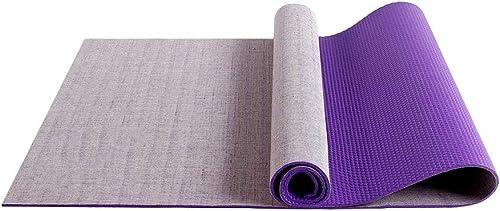 JQMKKYJD Pilates Mat, Tapis de Yoga de Haute qualité avec Tapis de Yoga en Lin Naturel.