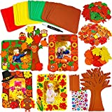 12 Sets Fall Decoration Fall Picture Photo Foam Frames Craft Kit Foam Tree of Thanks Smile Face Pumpkin Maple Leaf Owl Turkey Sunflower Stickers for Kids Art Gift Favors Thanksgiving Harvest Decor