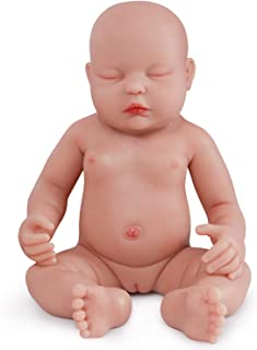 Vollence 18 Inch Eye Closed Full Silicone Baby Doll That Look Real,Not Vinyl Material Dolls,Sleeping Lifelike Baby Dolls,Realistic Newborn Real Baby Doll,Soft Handmade Silicone Alive Baby Doll - Girl