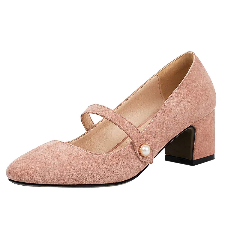 [Gracemee] レディーズ 可愛い パール パンプス メアリージェーン シューズ ミッドヒール 太ヒール 通勤靴 Oufen Size 34
