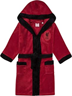 Liverpool FC Official Soccer Gift Boys Hooded Fleece Dressing Gown Robe