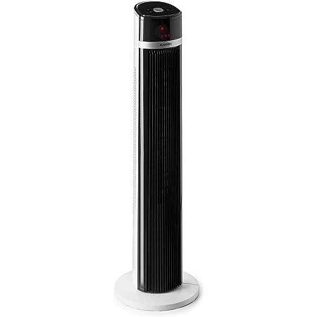 KLARSTEIN IceTower - Ventilateur sur Pied, 36 Watts, Débit d'air: 438 m³/h Max, 3 Vitesses, 3 Modes: Normal, Naturel et Nuit, Écran LED, Mode pivotant, programmable, Minuterie, Support sûr - Blanc