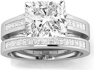 3.5 Ctw 14K White Gold Channel Princess Cut Diamond Engagement Ring Bridal Set Cushion Cut (3 Ct F Color SI2 Clarity Center Stone)