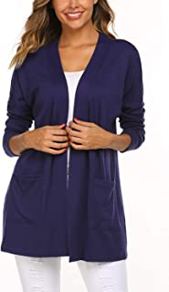 SimpleFun Women's Casual Lightweight Open Front Batwing Long Sleeve Cardigans with Pockets(S-XXL)