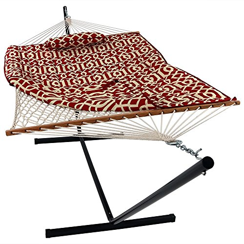 Sunnydaze Cotton Rope Freestanding Hammock with 12 Foot Portable Steel Stand and Spreader Bar, Pad and Pillow Included, Royal Red