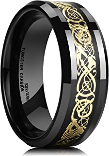 Dragon 8mm Mens Celtic Dragon Tungsten Carbide Wedding Band Ring Black/Gold/Rose..