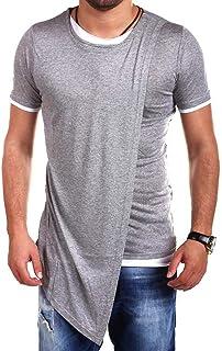 neveraway Men's Long Sleeve Slim Fit Irregular Hem Hip Hop T-Shirt Blouse