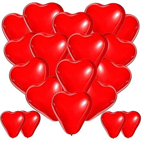BESTZY Palloncini Cuore Rosso, 100 Palloncini Matrimonio Cuore, Palloncini a Forma di Cuore Elio per Matrimoni, Festa Evento Cerimonia Decorazione Romantico Amore