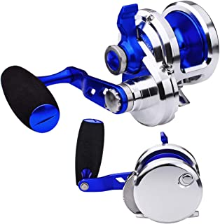 ProberoS Trolling Reel Fishing Reels Round Fishing Lever Drag Conventional Jigging Reel for Trout Bass Fishing - fit Saltwater Freshwater - Max Drag 88lb