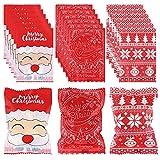 100 bolsas de galletas navideñas Bolsas de regalos navideños Embalaje de dulces Envoltorios de turrones para caramelos Envoltorios de turrones Bolsas de embalaje Bolsas de dulces para galletas Bolsas