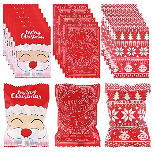 100 szt. Świąteczne torby na ciasteczka Boże Narodzenie torby na słodycze opakowanie na cukierki nugat do karmelu nugat opakowanie torby na ciasteczka torebki na cukierki torby na prezenty opakowanie na Boże Narodzenie artykuły na przyjęcie