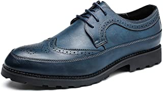 SHENTIANWEI Casual Oxfords for Men Dress Shoes Lace up Microfiber Leather Pointed Toe Brogue Carving Burnished Style Solid Color Stitched (Color : Blue, Size : 8.5 UK)