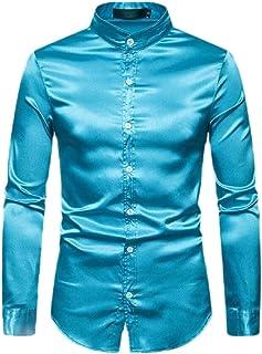 YONGM Mens Summer Long Sleeve Slim Fit Silk Like Satin Prom Button Down Shirt