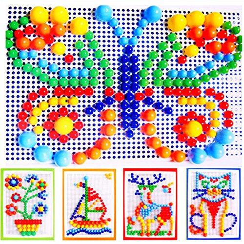 Itian 296Pcs Pilz Nägel Spiel Kreatives Puzzle Mosaic Pegboard Pädagogisches Spielzeug für Kinder (zufällige Farben)