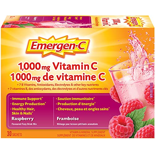 Emergen-C Raspberry (30 Count), 1000mg Vitamin C / Electrolytes / B Vitamins Mineral Supplement