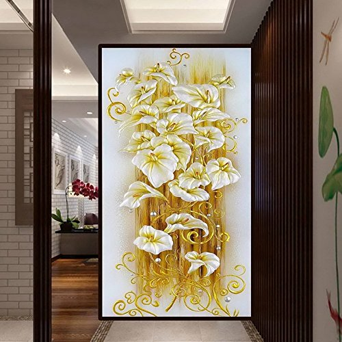 Ourwarm 5D DIY Diamond Painting Lily Flower 3D Cross Stitch Ricamo Diamond Flores Ricamo Diamanti Wall Stickers Home Decor