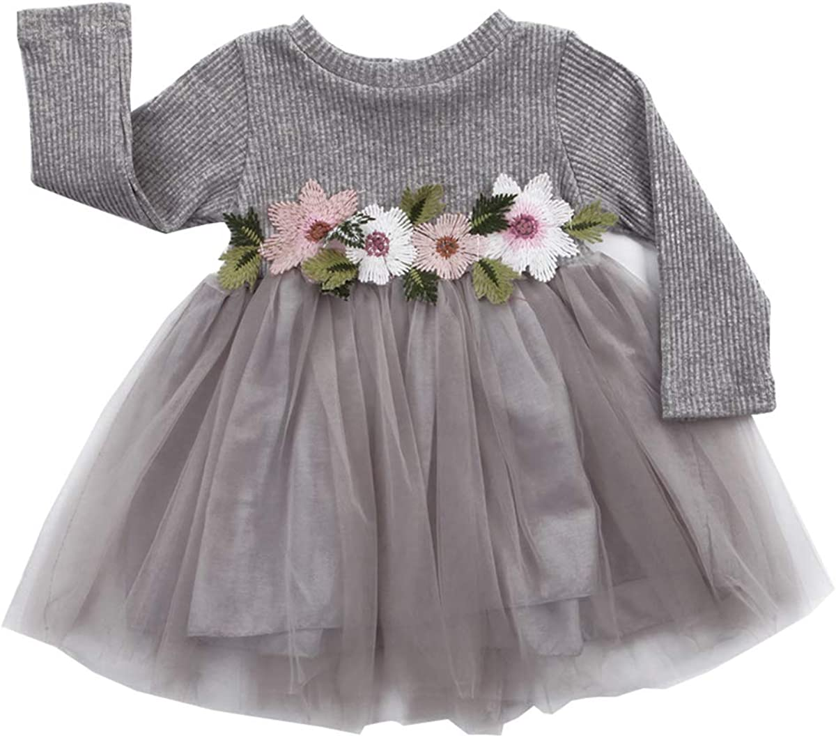 Mubineo Max 87% OFF Toddler Girl Long Sleeve Shipping included Flower Infant Baby Knit Dresses